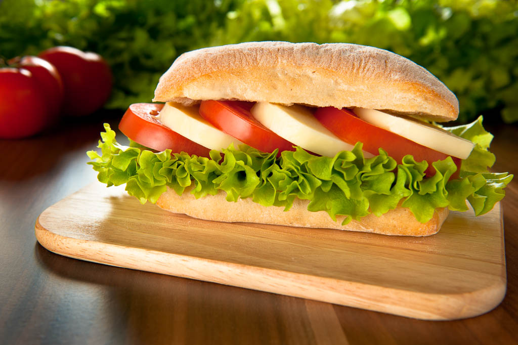sandwich with mozzarella and tomato